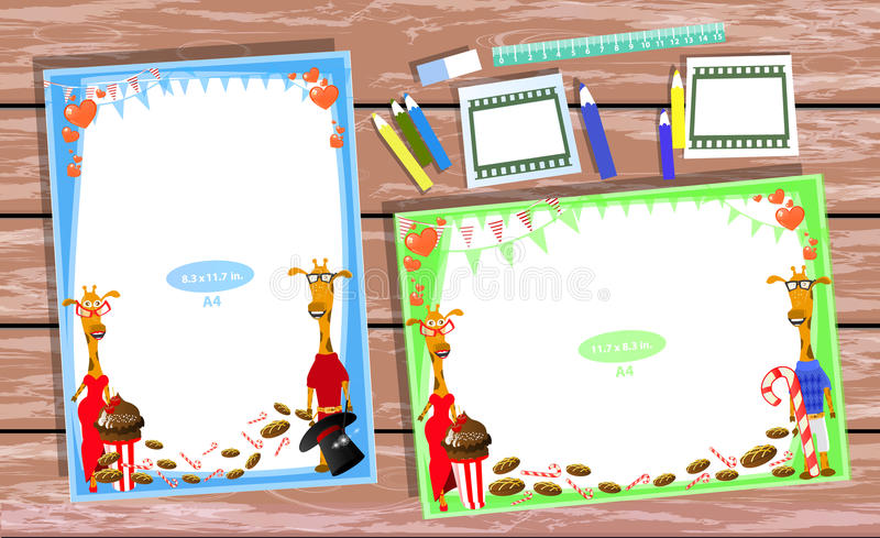 Photo frame on the table. Horizontal vector illustration