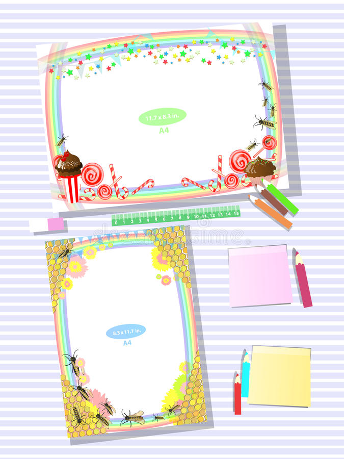 Photo frame on the table. Horizontal and vertical stock illustration