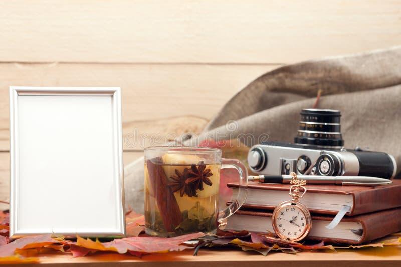 Photo frame and tea stock photography