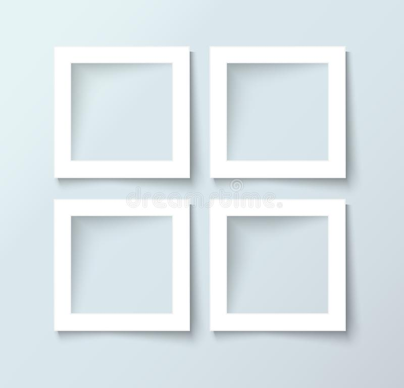 Photo frame collection realistic vector. Photo Frame template set, realistic vector illustration royalty free illustration