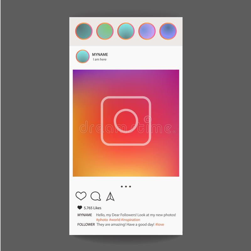 Photo frame vector for application. Social Media concept and interface. INSTAGRAM royalty free illustration