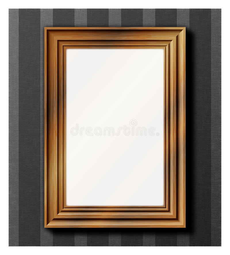 Photo frame - wooden stock illustration