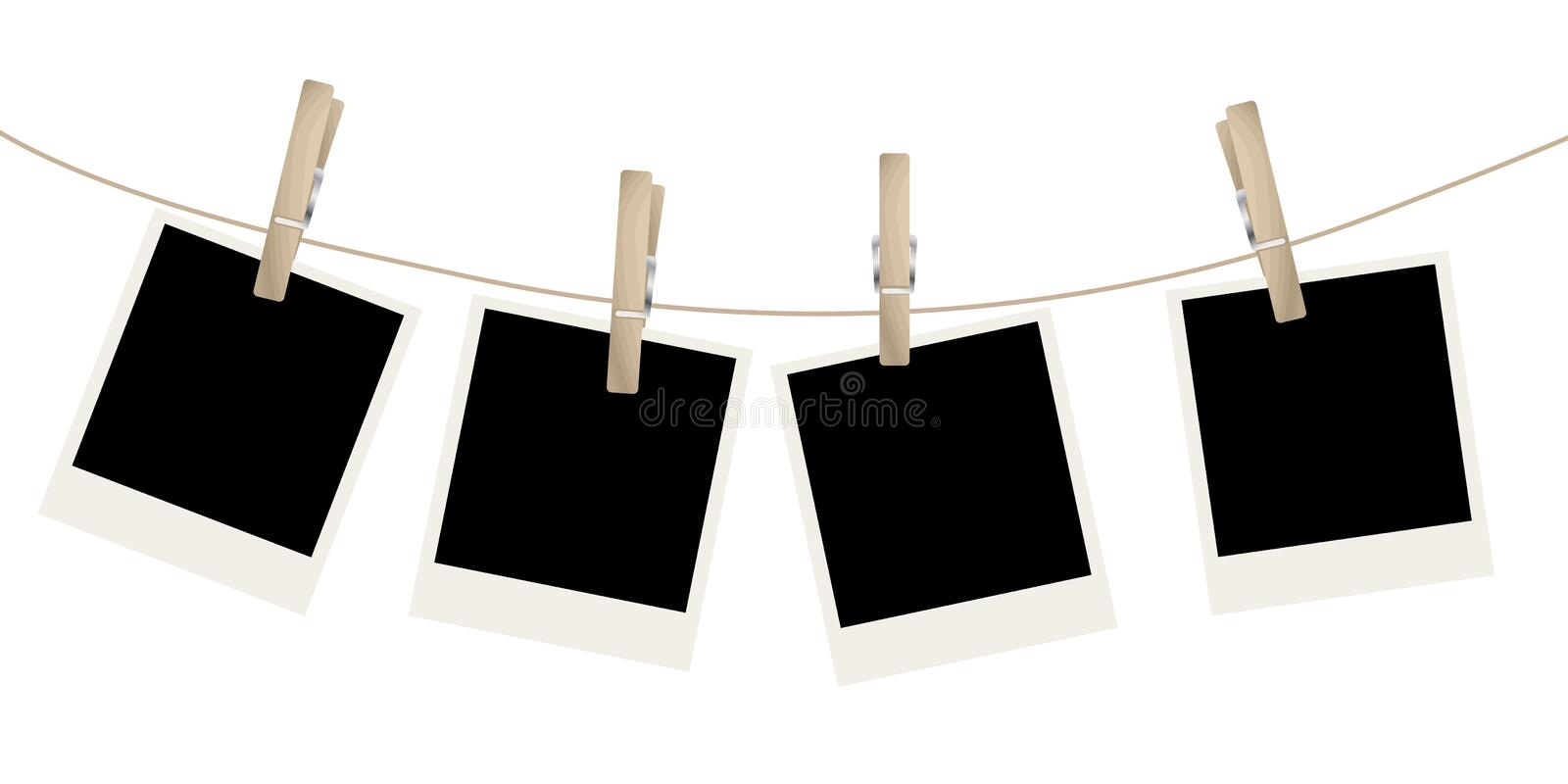 Photo frames. On the rope. Vector illustration vector illustration