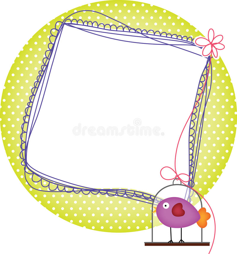 Photo frames with bird cage royalty free illustration