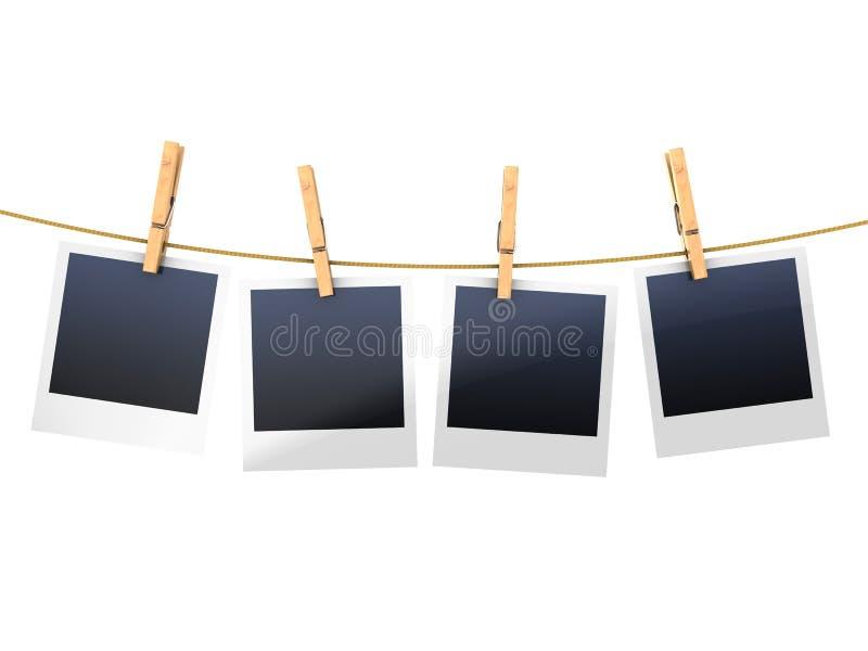 Photo frames on clothesline stock illustration