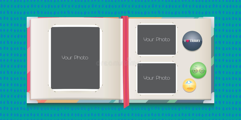 Photo frames collage or scrapbook vector illustration royalty free illustration