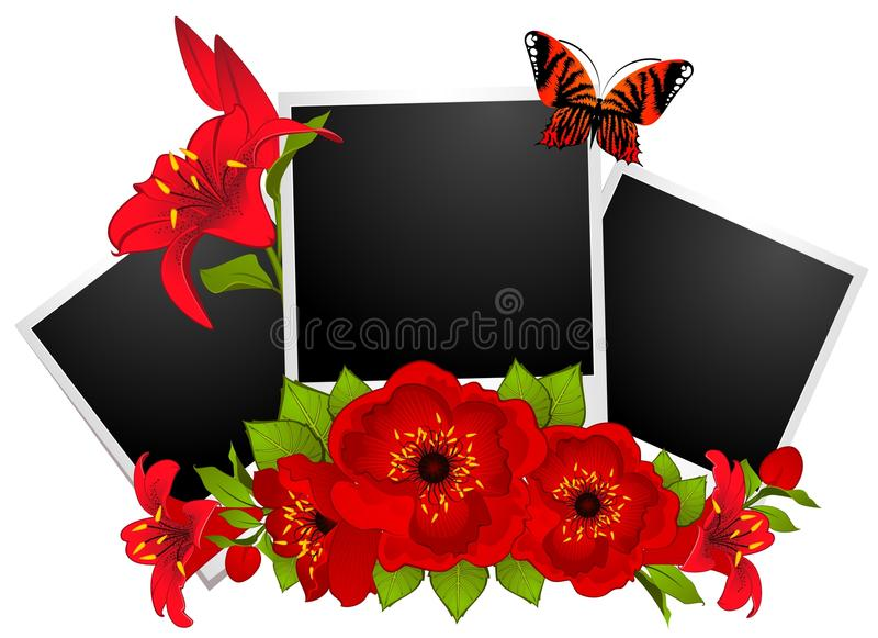Photo frames with flowers vector illustration