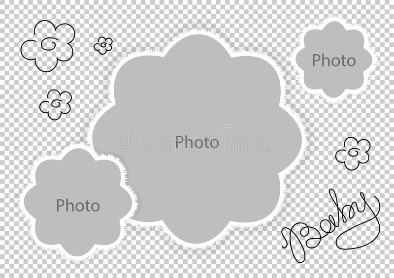 Photo frames flowers template for sweet baby vector illustration