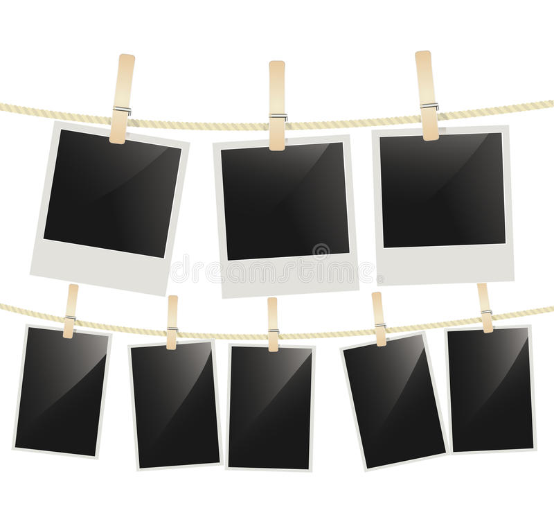Photo frames hanging on clothesline with clothespins on white vector illustration