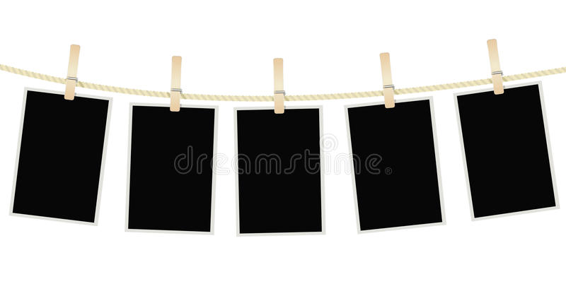 Photo frames hanging on a rope with clothespins royalty free illustration