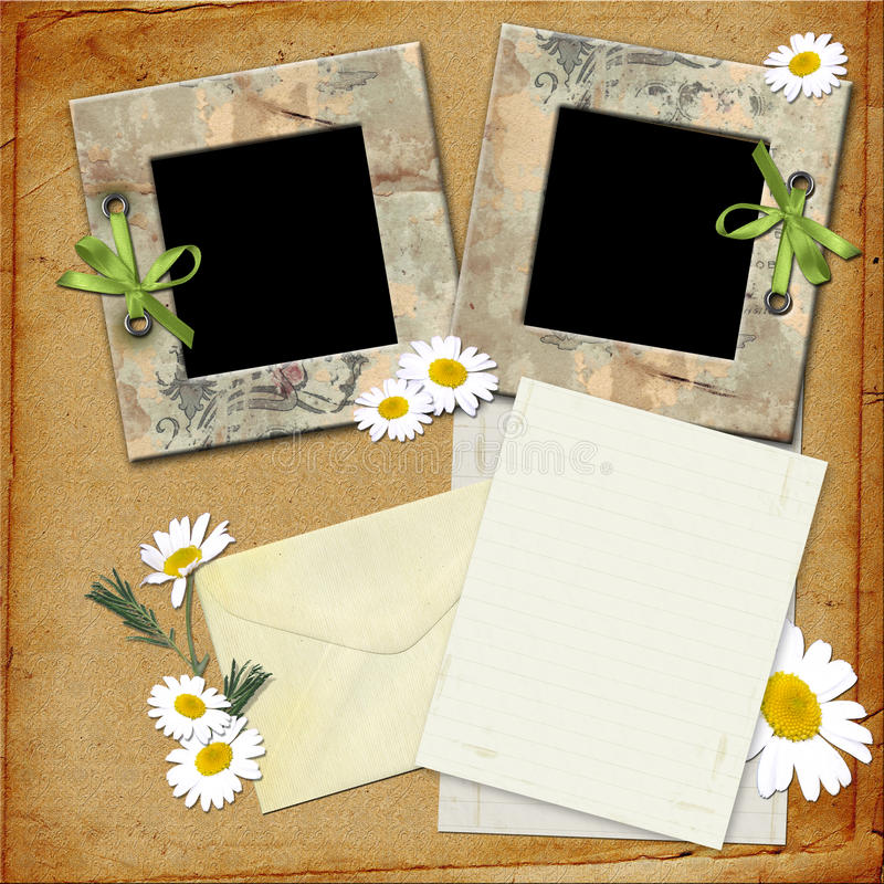 Photo frames and a letter. stock illustration
