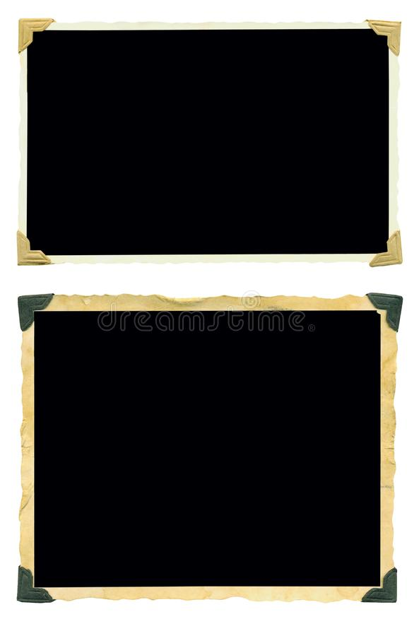 Photo frames, old blank photos, isolated on white. Free space for your pics and copy stock image