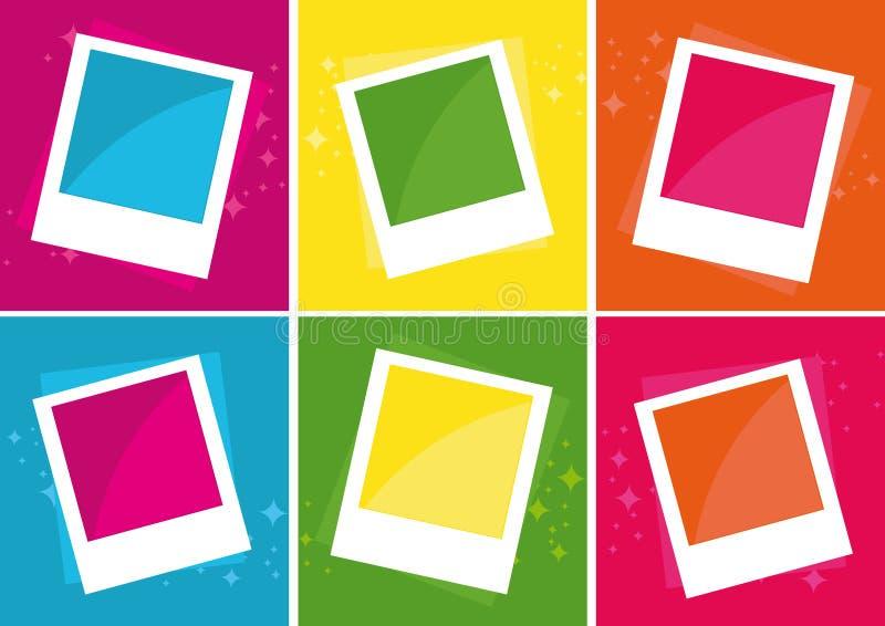 Photo Frames over different color backgrounds vector illustration