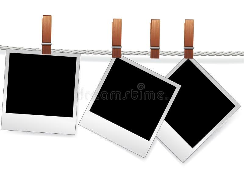 Photo frames on rope stock illustration