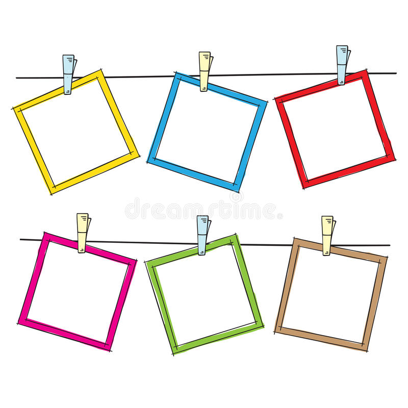 Photo frames on rope stock vector image 61619332 Rope photo frame
