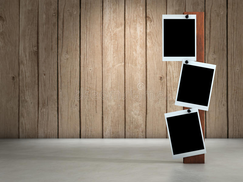 Photo frames. Three empty pictures on wood background stock illustration