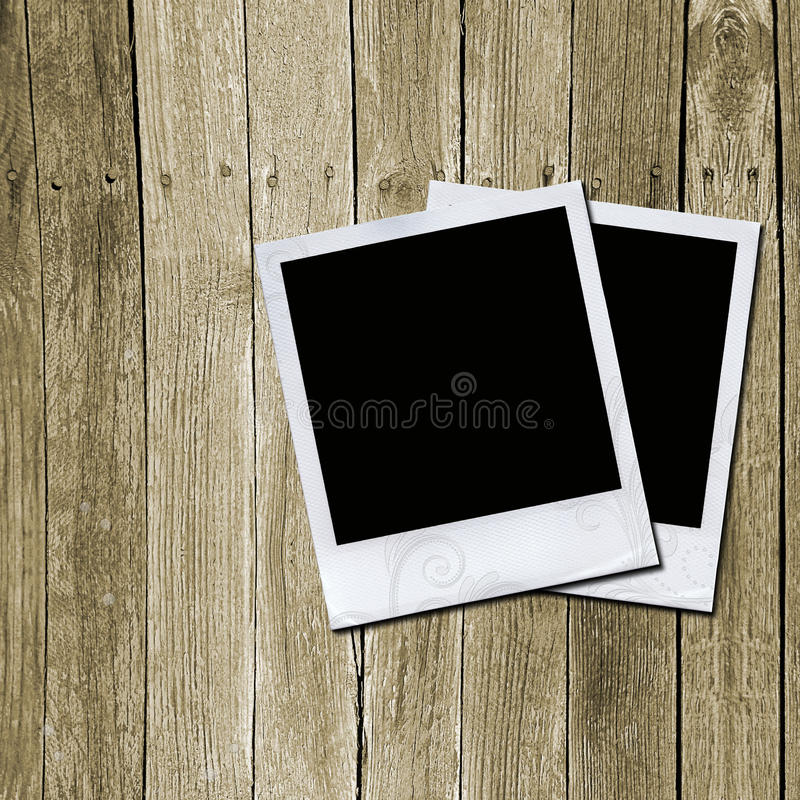 Download Photo Frames On Wooden Texture Stock Illustration - Image: 20995759