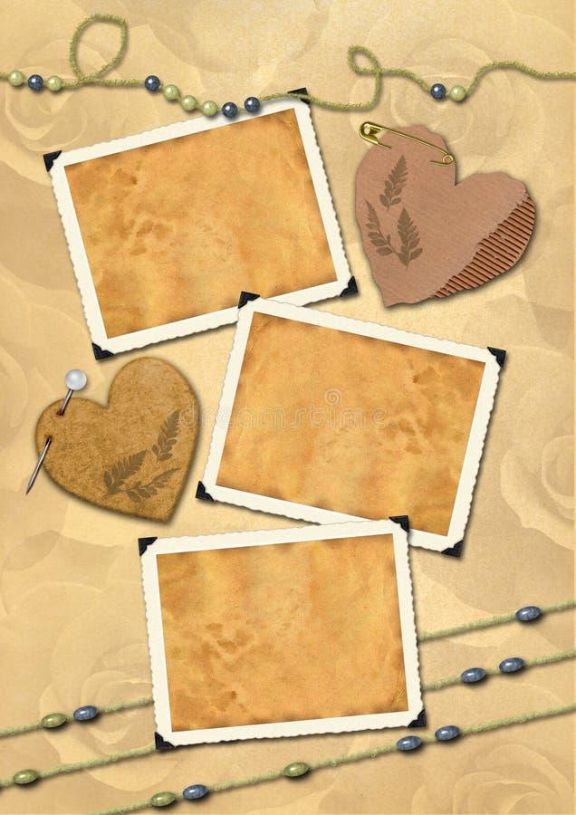 Photo frameworks, hearts, beads. royalty free stock image