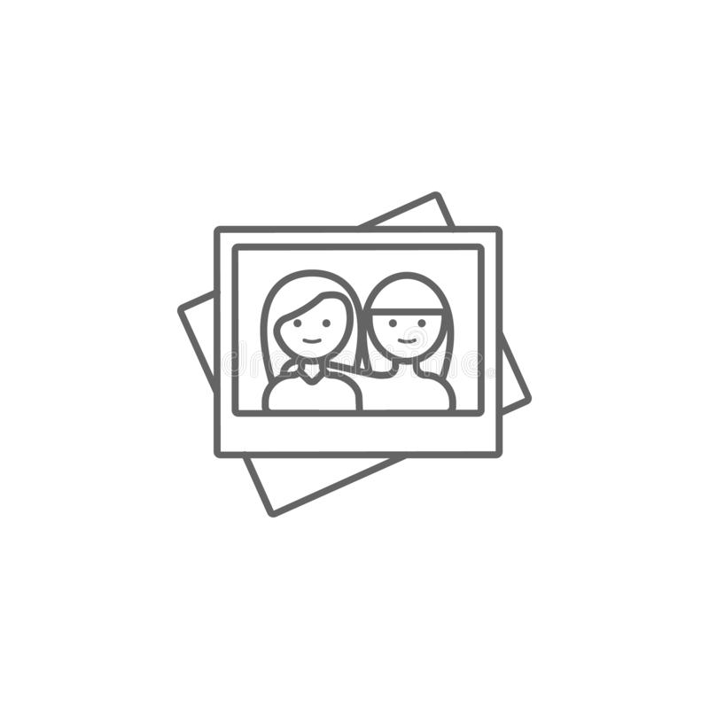 Photo, friend, girls icon. Element of friendship icon. Thin line icon for website design and development, app development. Premium stock illustration