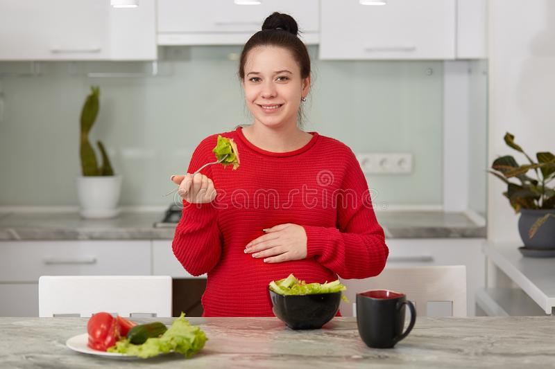 Photo of future mother eats healthy food, home made fresh vegetable salad from pepper, lettuce, tomatoes and cucumbers, poses. Against kitchen interior alone stock photo
