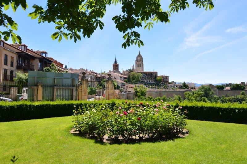 Photo gentille avec la tour de Bell de la cathédrale et le vieux quart derrière un rosier à Ségovie Architecture, voyage, histoir photographie stock