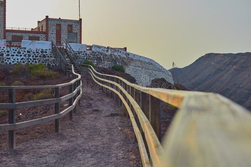 Photo gentille prise du chemin du point de vue du phare d'Entallada, Fuerteventura photographie stock