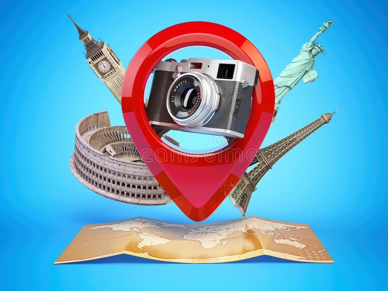 Photo geo tag concept. Camera in pin pointer with famous places and world map. Travel and tourism concept. 3d illustration royalty free illustration