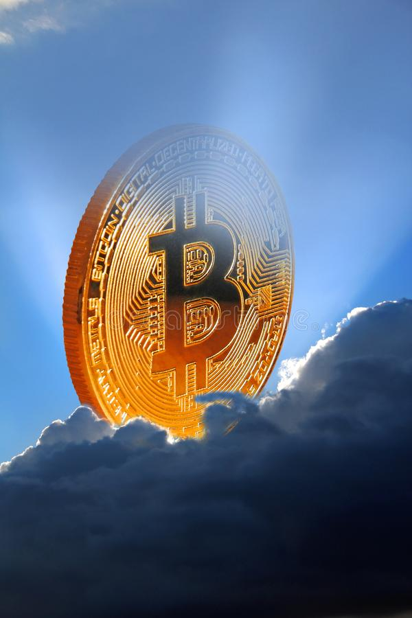 Bitcoin digital cryptocurrency gold coin royalty free stock images