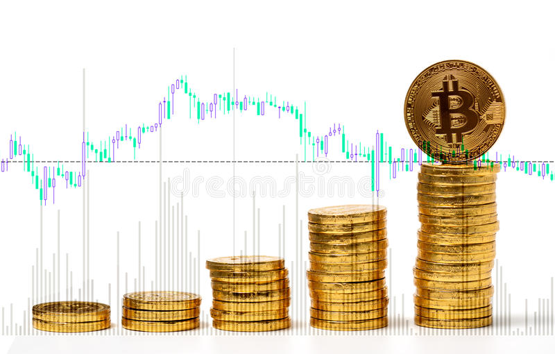 Photo Golden Bitcoins on forex chart background stock image
