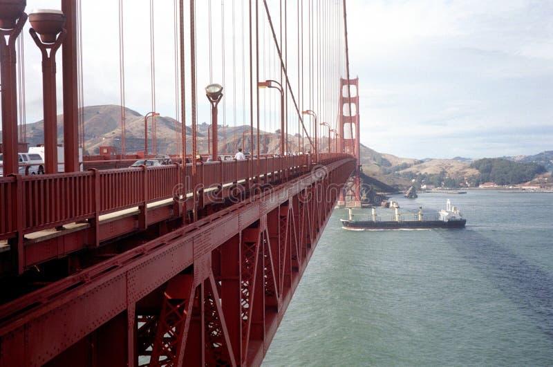 Golden Gate Bridge and Ship in California stock photo