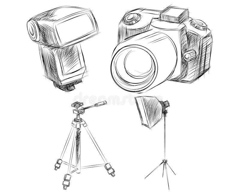Photo goods set. Vector illustration of a photo goods set stock illustration