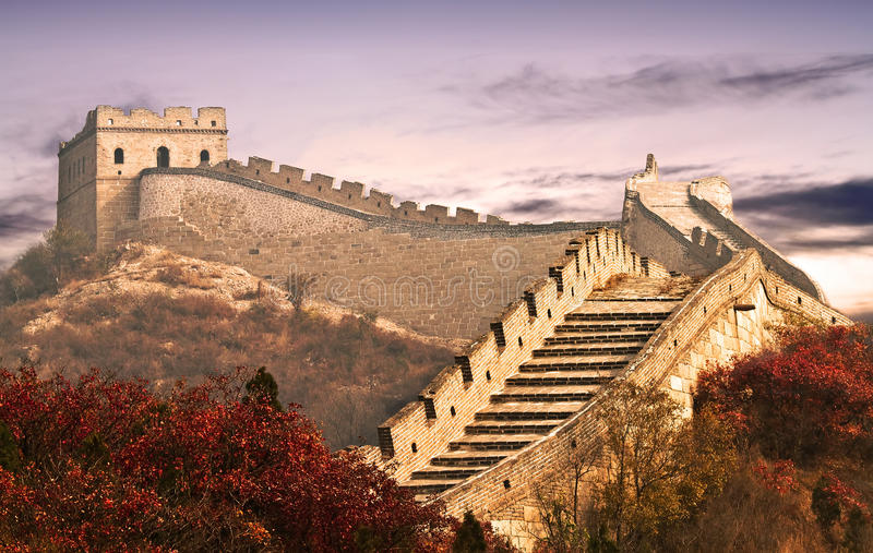 Photo of the Great Wall in the clouds stock photo