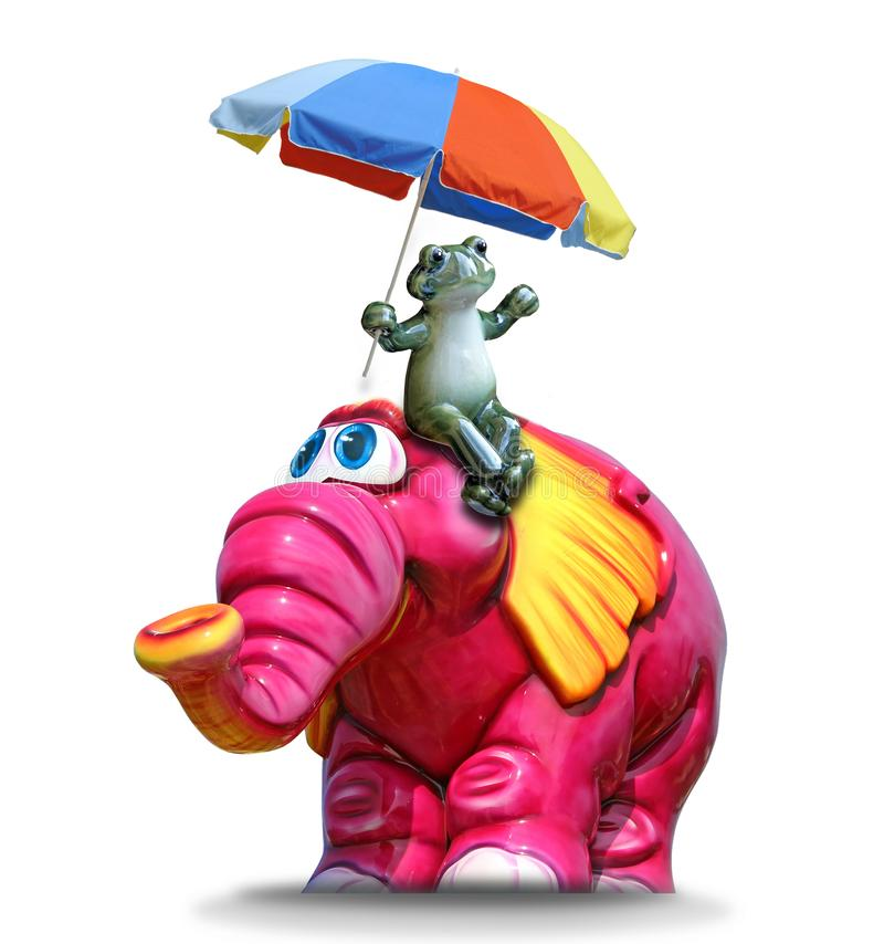 Mahout frog with summer parasol riding pink elephant. Photo of a green frog holding a summer parasol umbrella riding a pink elephant royalty free illustration