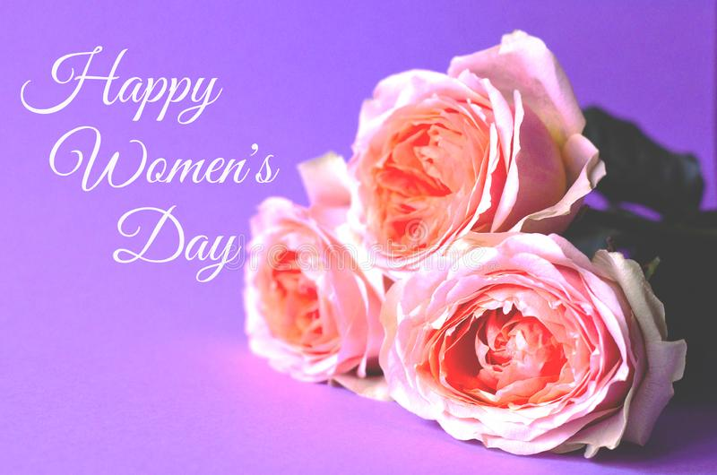 Photo greeting card with roses Happy Women`s Day royalty free stock photo