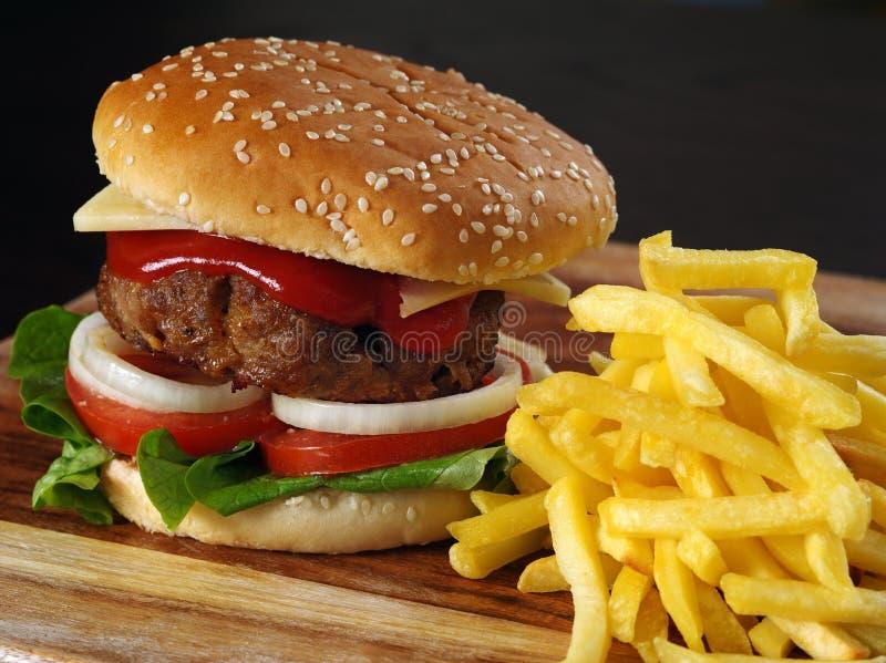 Juicy hamburger and fries royalty free stock photos
