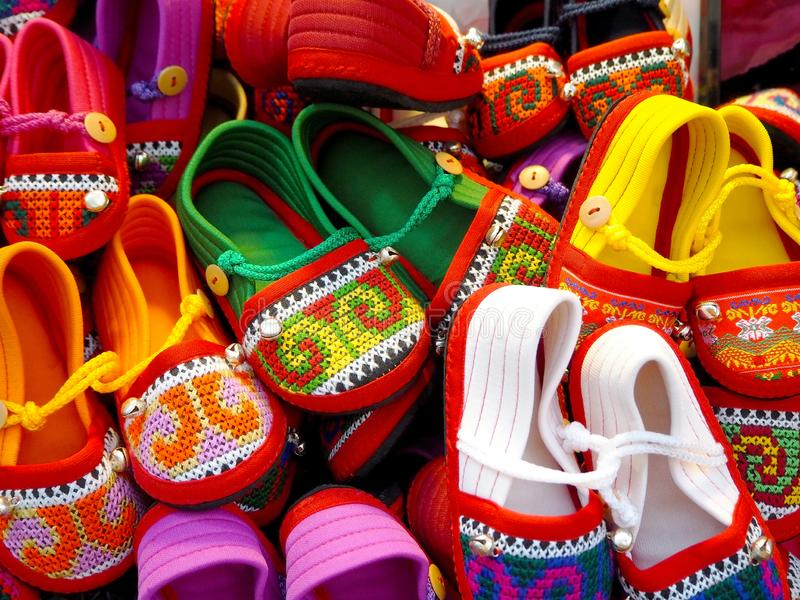 Photo of Handmade Embroidery Shoes royalty free stock photo