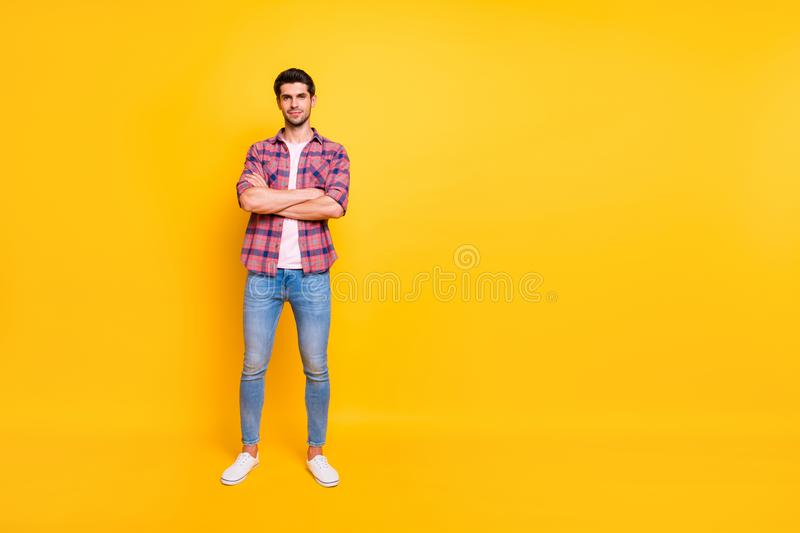 Photo of handsome boss who got tired of his monotonous work and is having vacation now while isolated with vivid. Photo of handsome boss who, got tired of his stock image