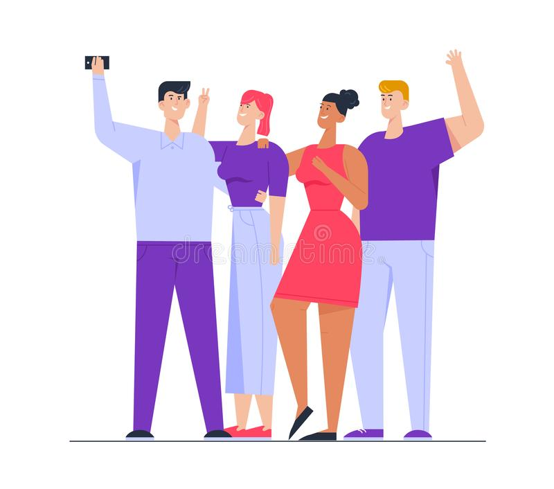 Photo of Happy Multiracial Group of Friends Standing Together Posing and Gesturing Making Selfie. Company of People royalty free illustration