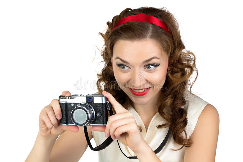 Photo of the happy woman with retro camera stock photos