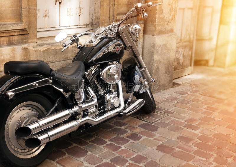 Photo of Harley Davidson. On the street stock image