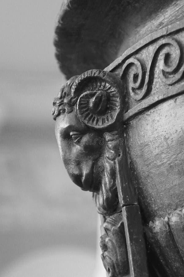 Head of a stone ram royalty free stock photos
