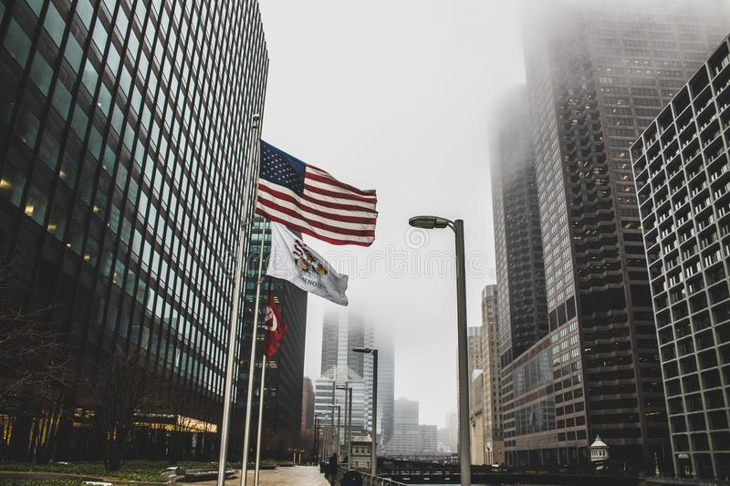 Photo of High Rise Buildings on a Foggy Day stock photo
