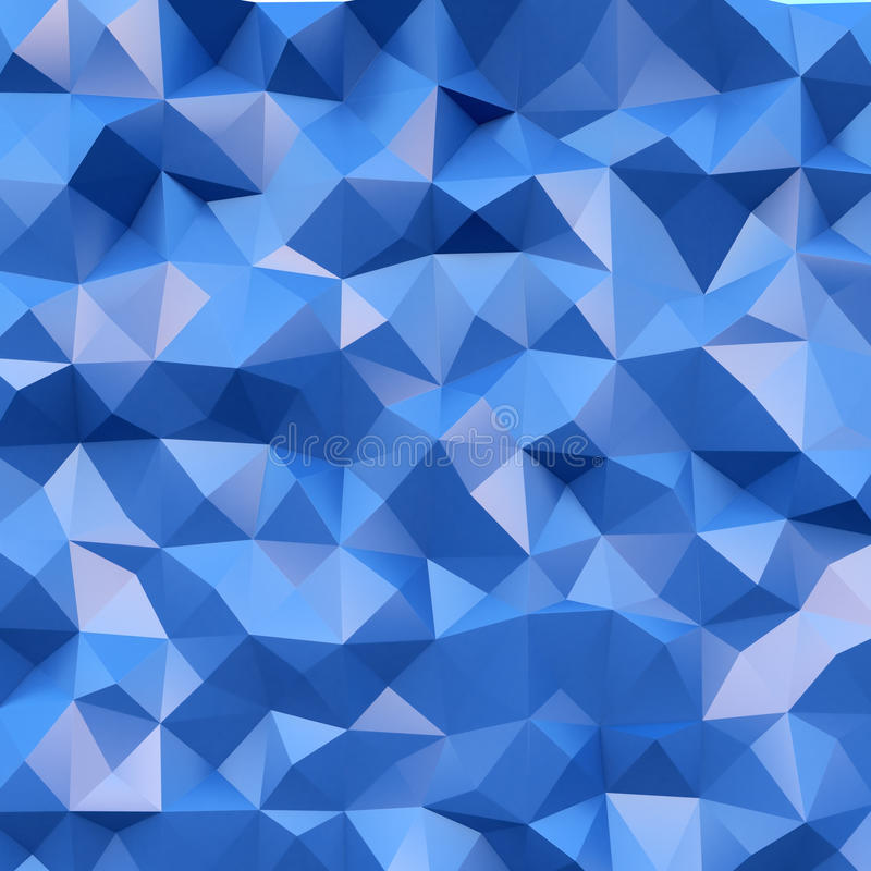 Photo of highly detailed multicolor polygon. Blue geometric rumpled triangular polygons style. Square. 3d render stock illustration
