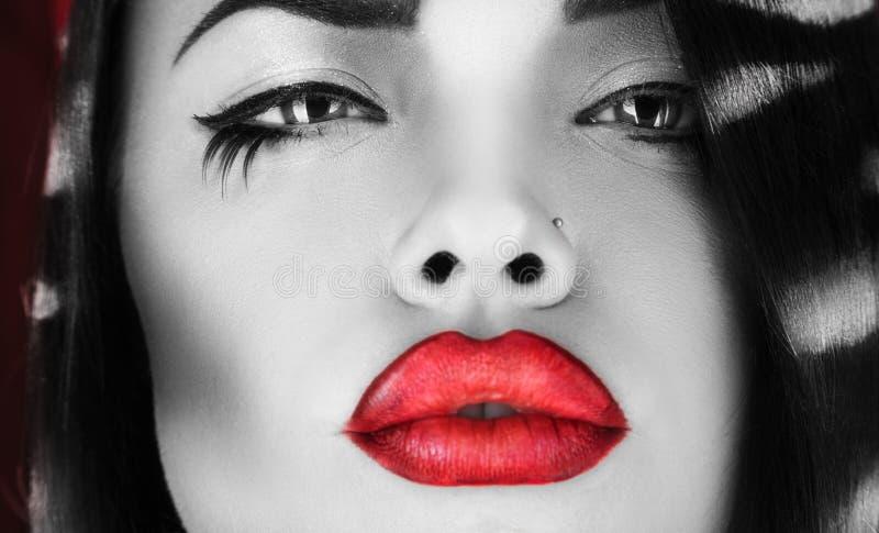 Photo horizontale de femelle noire et blanche avec les lèvres rouges photo stock