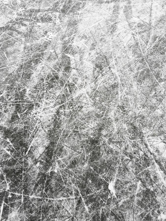 Photo of ice with scratches from the skates royalty free stock images