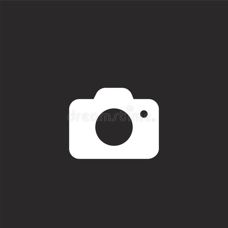 Photo icon. Filled photo icon for website design and mobile, app development. photo icon from filled camera collection isolated on. Black background royalty free illustration