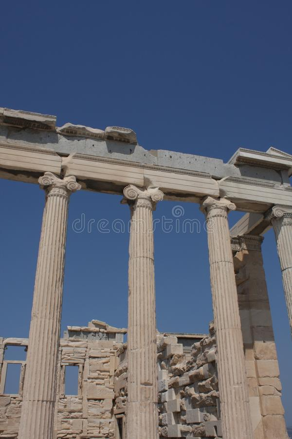 Photo of iconic Erechtheion with famous Caryatids, Acropolis hill, Athens historic center, Attica, Greece.  stock photography