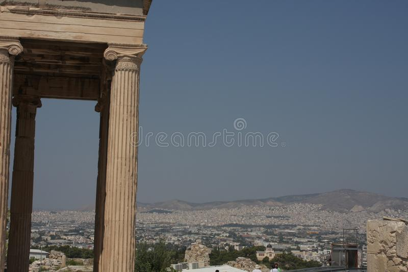 Photo of iconic Erechtheion with famous Caryatids, Acropolis hill, Athens historic center, Attica, Greece.  stock image