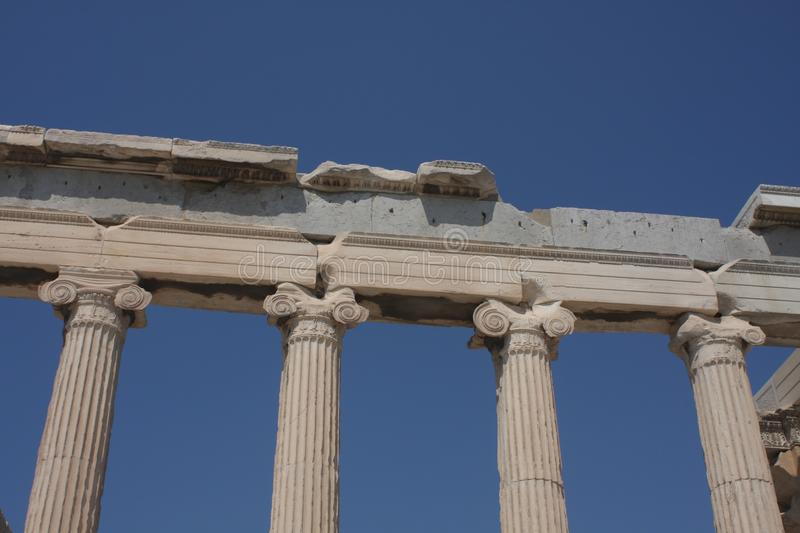 Photo of iconic Erechtheion with famous Caryatids, Acropolis hill, Athens historic center, Attica, Greece.  stock images