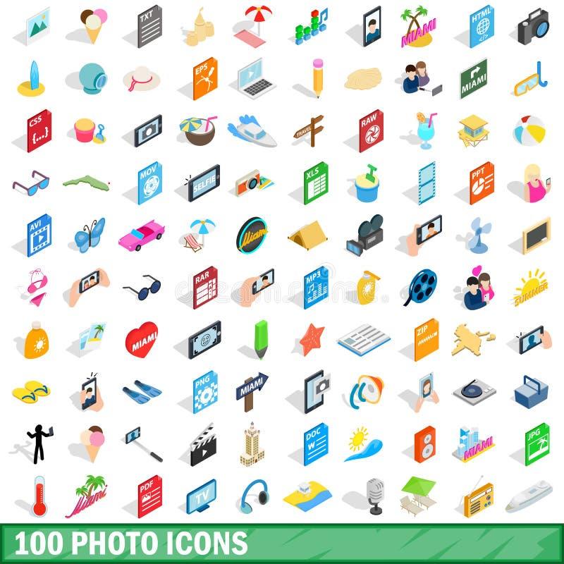 100 photo icons set, isometric 3d style royalty free illustration
